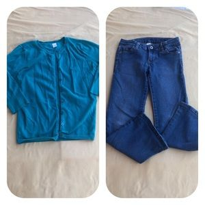 Jeans & Sweater Cardigan Bundle Girls 6